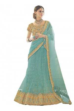 Bewitching Light Teal Net Lehenga Choli