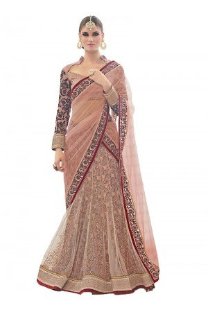 Appealing Peach Net Lehenga Choli
