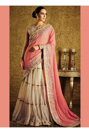 Glided Cream Net Lehenga Choli