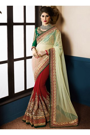Aristocratic Beige Georgette On Net Designer Saree