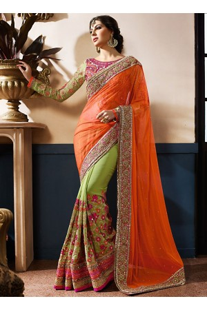 Luxurious Orange Georgette On Net Designer Saree