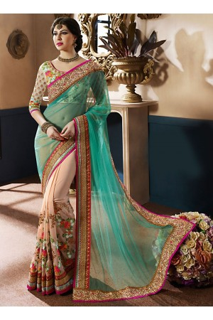 Transcendent Turquoise Georgette On Net Designer Saree