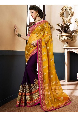 Fetching Gold Georgette On Net Designer Saree