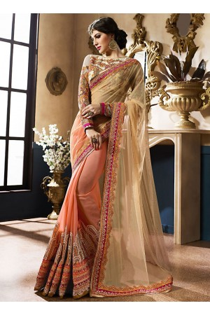 Pristine Cream Georgette On Net Designer Saree