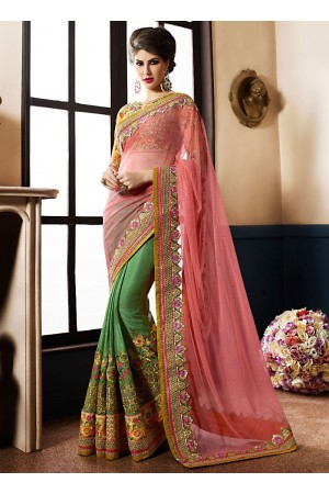 Radiant Pink Silk On Net Saree
