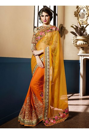 Exciting Mustard Net Designer Saree