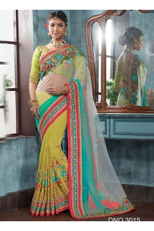 Sensual Georgette On Net Multi Color Designer Saree
