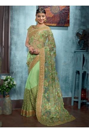 Bountiful Green Net Designer Saree