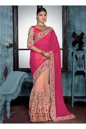 Foremost Magenta Georgette On Net Designer Saree