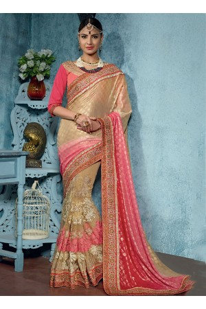 Natty Cream Brasso On Net Designer Saree