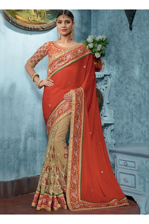 Inviting Red Satin On Net Designer Saree