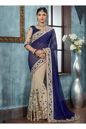 Crafty Navy Blue Georgette On Net Designer Saree