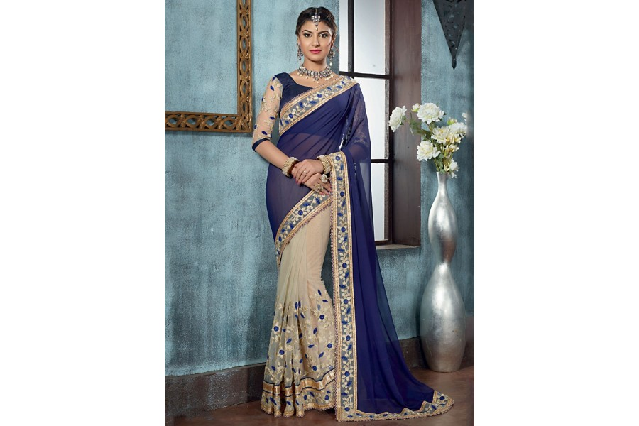 5aac7c3234 Designer Saris online shopping in USA UK Canada|Buy Crafty Navy Blue  Georgette On Net Designer Saree