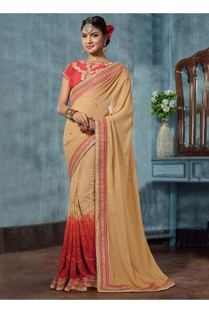 Qualified Cream Georgette On Net Designer Saree