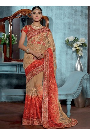 Shrewd Cream Net Designer Saree