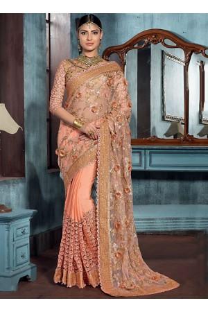 Cursorial Peach Net Designer Saree
