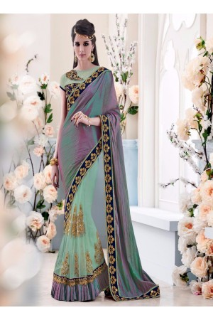 Arresting Embroidered Work Multi Colour Silk Designer Saree