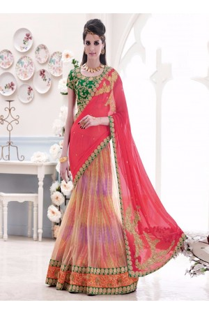 Talismanic Patch Border Work Lehenga Saree
