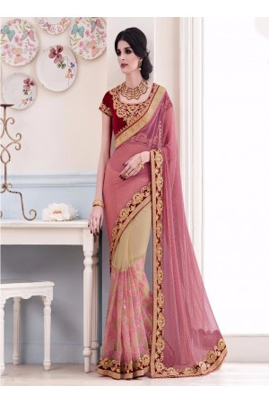 Jazzy Pink Patch Border Work Net Designer Saree