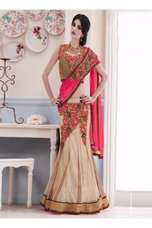 Talismanic Net Beige and Hot Pink Patch Border Work Lehenga Saree