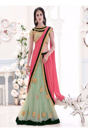 Pink and Sea Green Embroidered Work Net Lehenga Saree