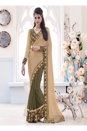 Beguiling Net Beige and Green Designer Saree