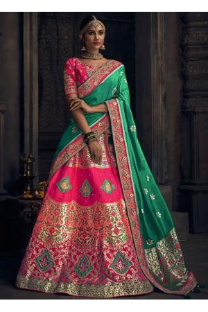 Pink banarasi silk Indian wedding lehenga