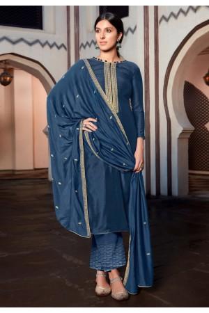 Blue cotton silk palazzo suit 1885