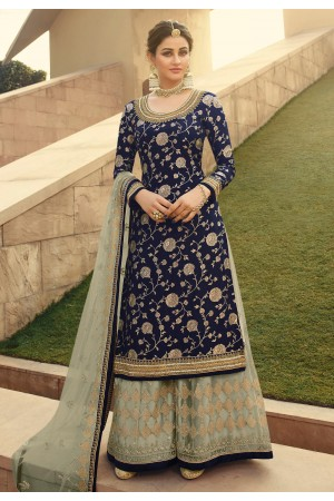 Navy blue jacquard silk embroidered kameez with palazzo 6706