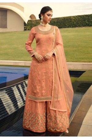 Peach jacquard silk embroidered kameez with palazzo 6701