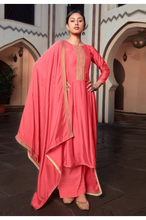Pink cotton silk palazzo suit 1887