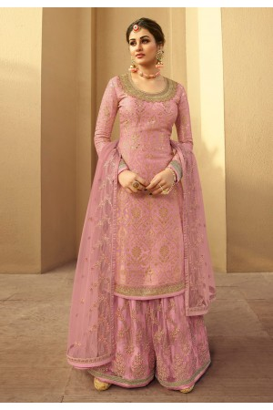 Pink jacquard silk embroidered kameez with palazzo 6704