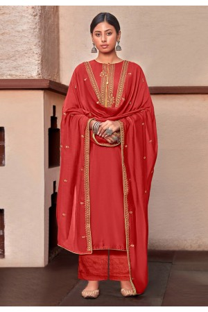 Red cotton silk kameez with palazzo 1882