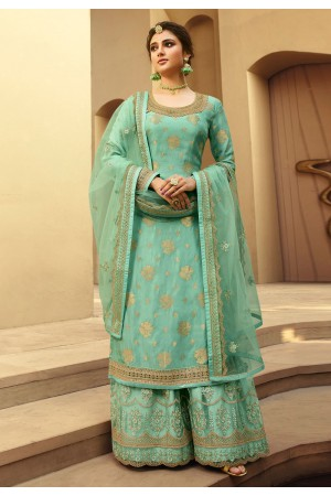 Sea green jacquard silk embroidered kameez with palazzo 6705