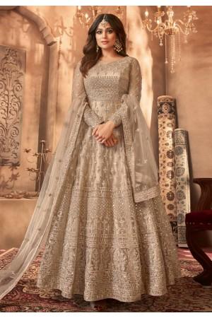 Shamita shetty beige net abaya style anarkali suit 8396