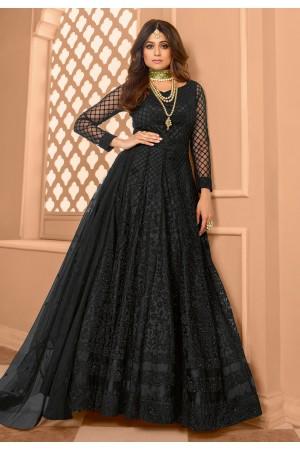 Shamita shetty black net abaya style anarkali suit 8399