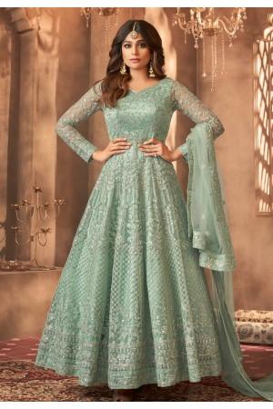 Shamita shetty light green net ankle length anarkali suit 8397