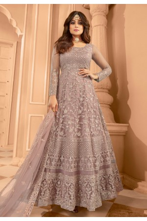 Shamita shetty light purple net ankle length anarkali suit 8398