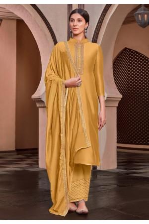 Yellow cotton silk kameez with palazzo 1886