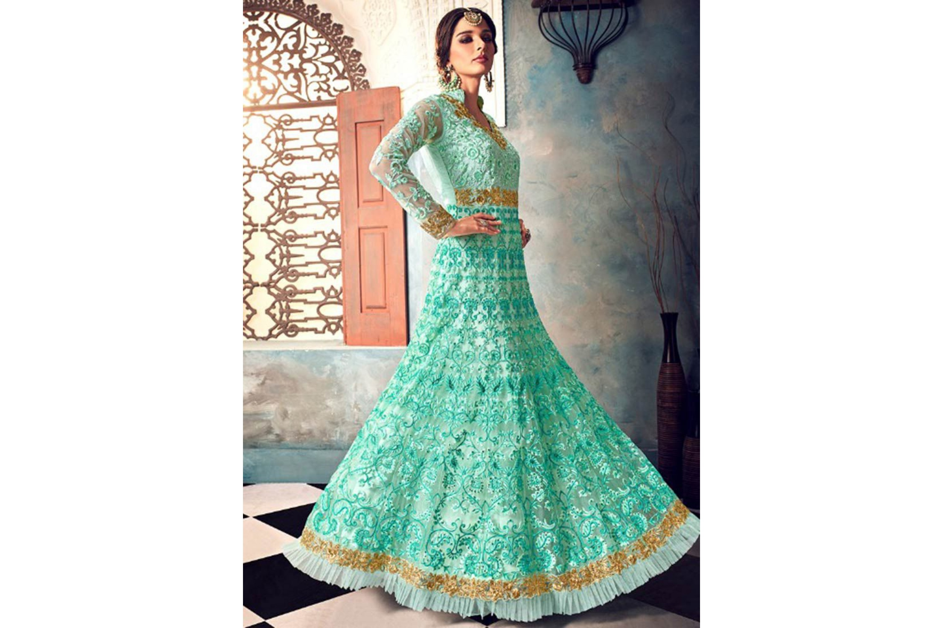 Buy Mint green color net party wear anarkali suit in UK, USA and Canada