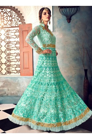 Mint green color net party wear anarkali suit