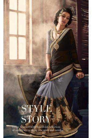 Party-wear-Black-Grey-color-saree