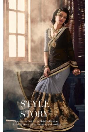 Party-wear-Black-Grey-color-saree