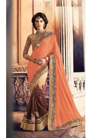 Party-wear-Brown-Beige-ApricotOrange-color-saree