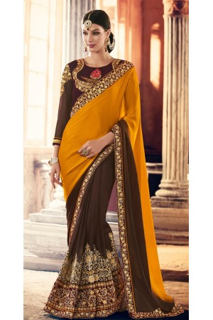 Party-wear-Mustard-Brown-color-saree