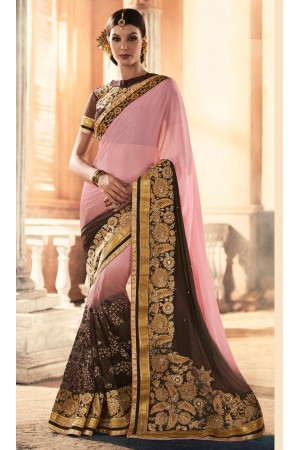 Party-wear-Pink-Black-color-saree