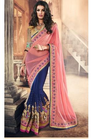 Party-wear-Pink-Blue-color-saree