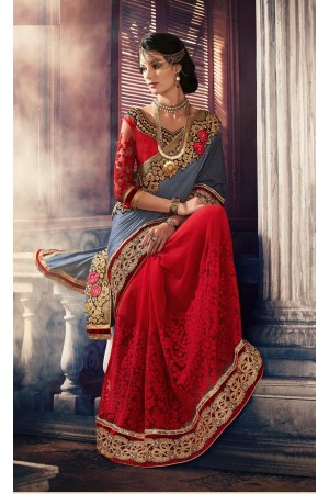 Party-wear-Red-Grey-color-saree