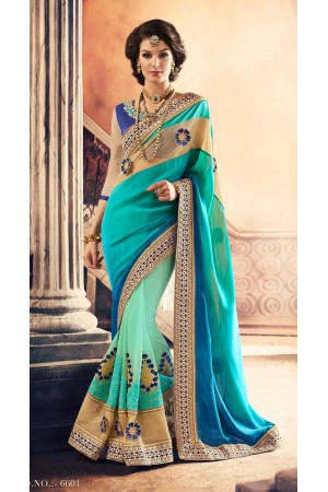 Party-wear-SeaGreen-Blue-color-saree