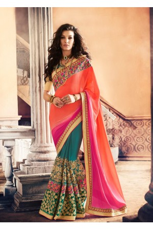 Party-wear-TealBlue-Orange-Pink-color-saree